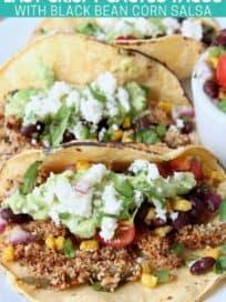 Tacos on plate with crispy cactus strips, avocado sauce and tomato salsa