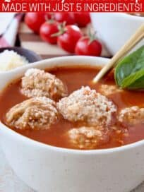 meatball soup in bowl with spoon