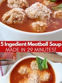 Meatball soup in bowl with fresh basil leaves