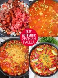 collage of images showing how to make spanish paella