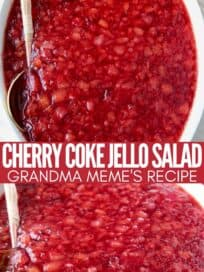 cherry jello salad in white serving dish with spoon