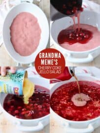 collage of images showing how to make cherry jello salad