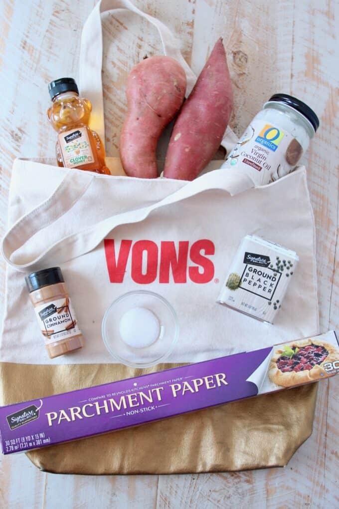 Ingredients for honey roasted sweet potatoes