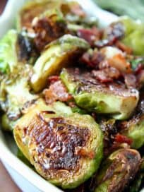 cooked brussel sprouts in serving dish