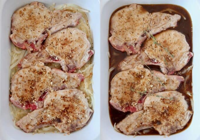 side by side images of pork chops in slow cooker with onions and beef broth