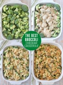 collage of images showing how to make broccoli cheddar casserole