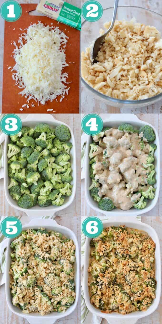 collage of images showing how to make broccoli cheddar casserole with ritz cracker topping