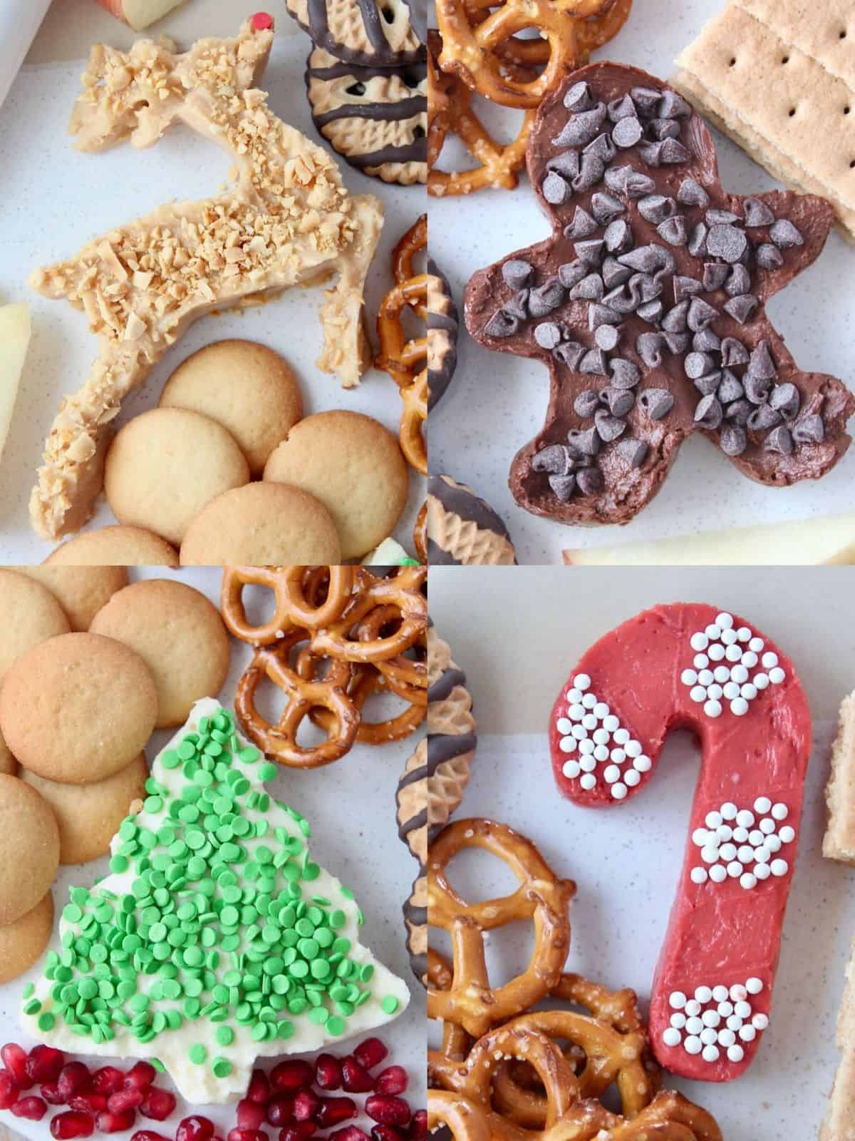 Overhead image of holiday shaped dessert dips