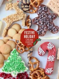 collage of images showing cream cheese dips in holiday shapes