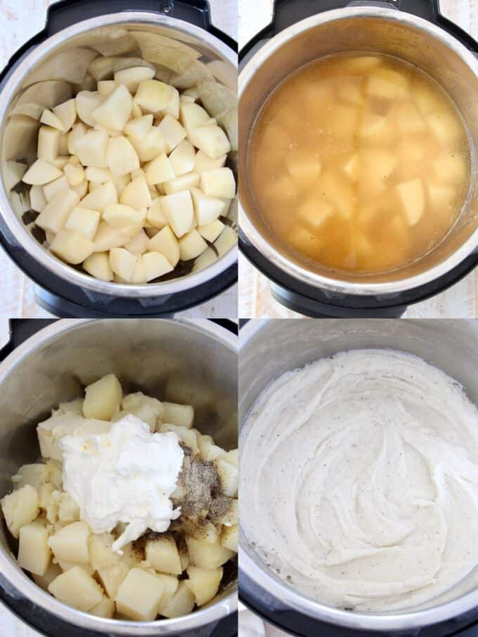 collage of images showing how to make mashed potatoes in an instant pot