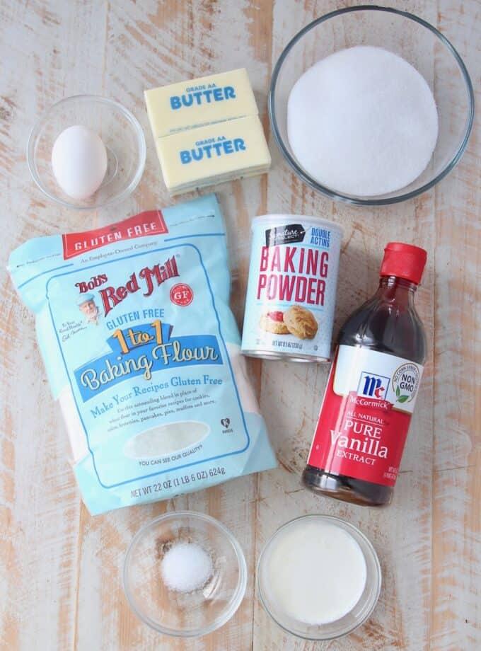 ingredients for gluten free sugar cookies