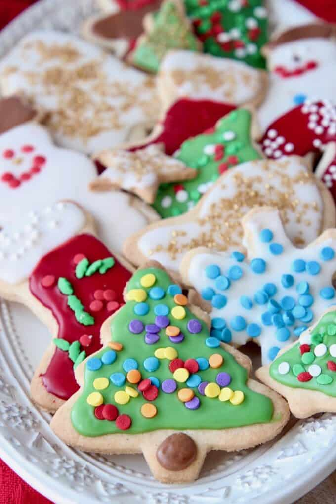 decorated sugar cookies on plate