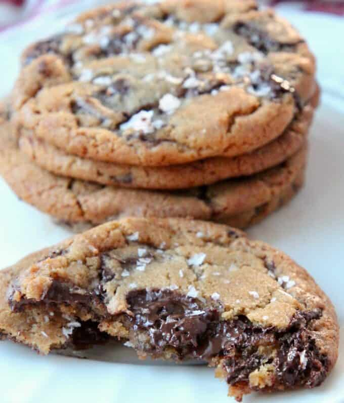 salted chocolate chunk cookies on plate