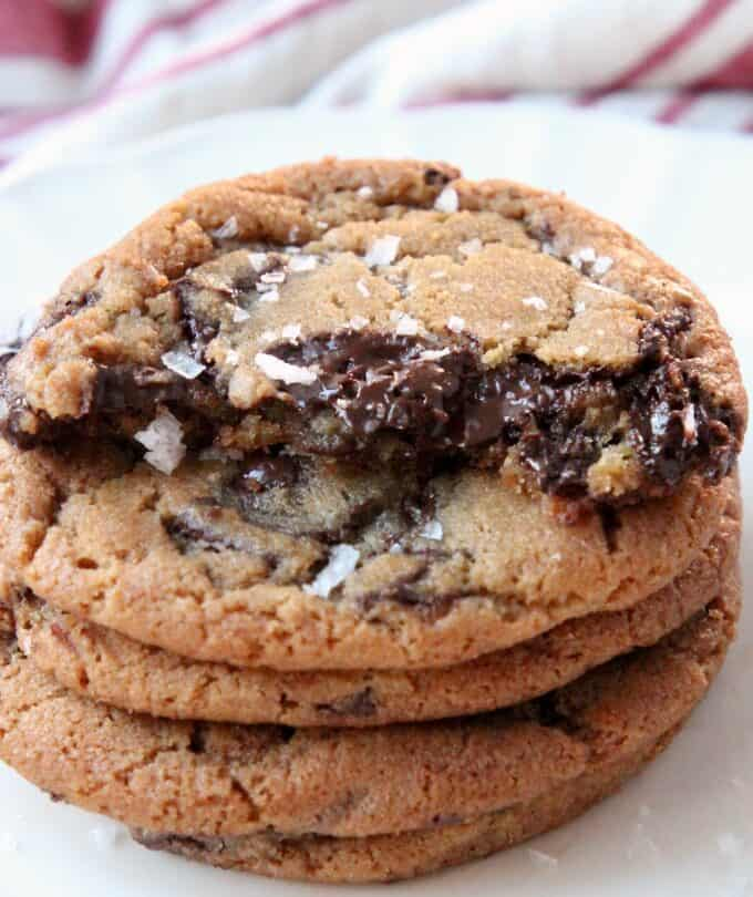 cookies stacked up on plate