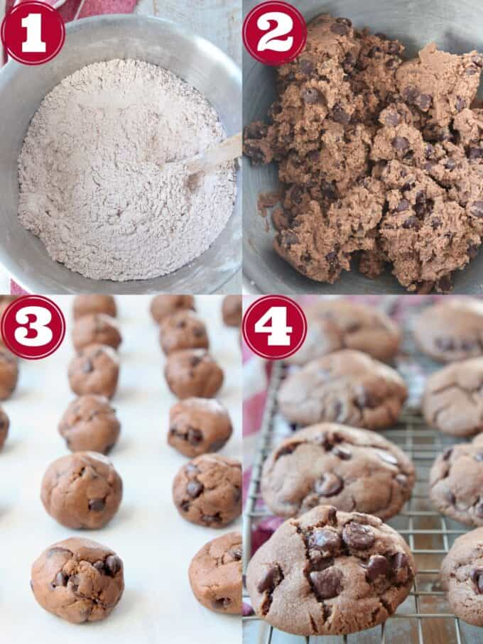 collage of images showing how to make double chocolate chip cookies