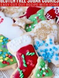 Decorated holiday sugar cookies on plate