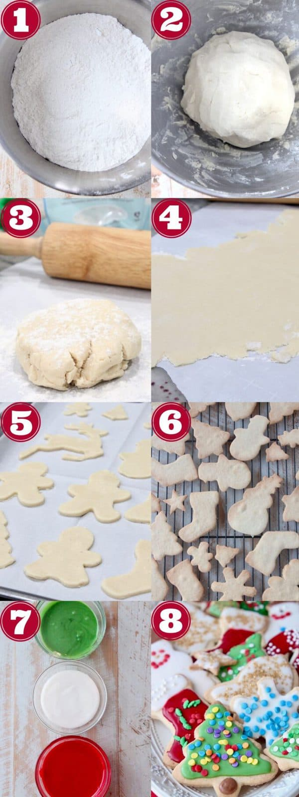 collage of images showing how to make gluten free sugar cookies
