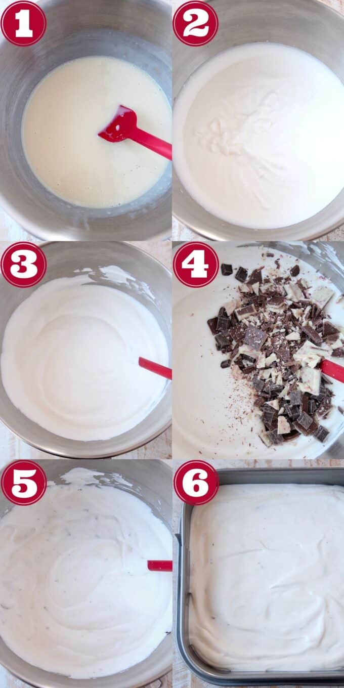 collage of images showing how to make peppermint bark ice cream