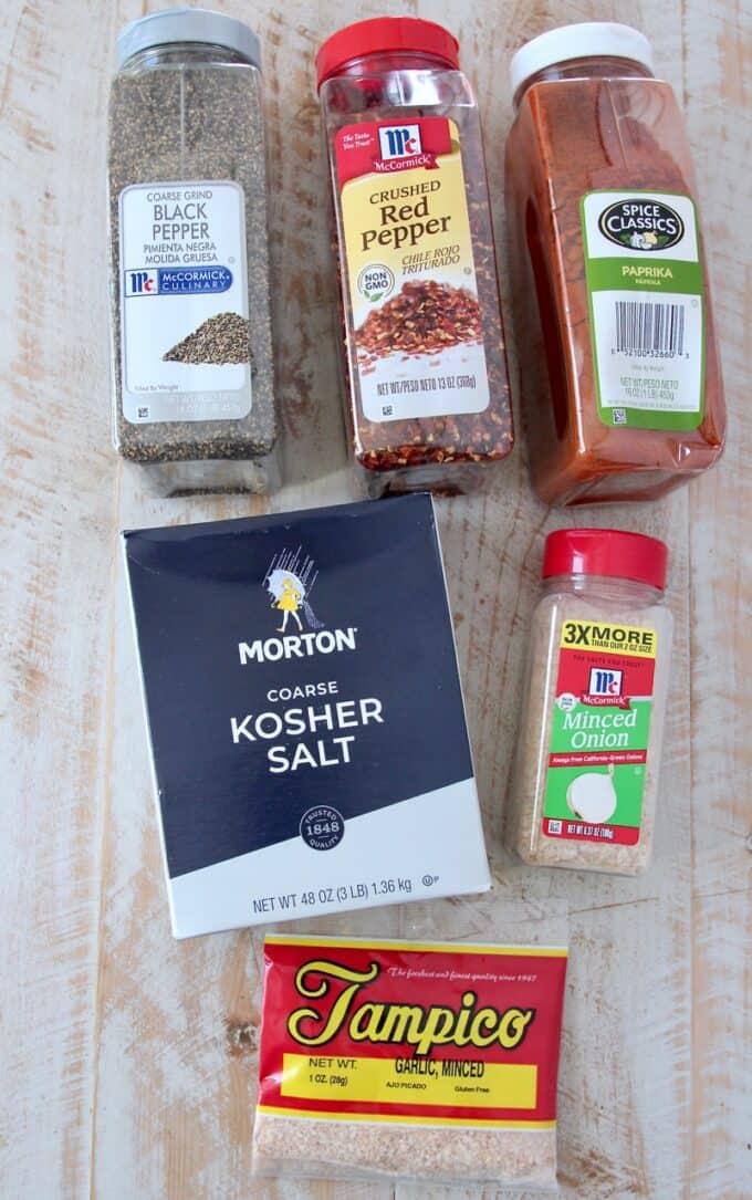 overhead image of ingredients for Montreal steak seasoning