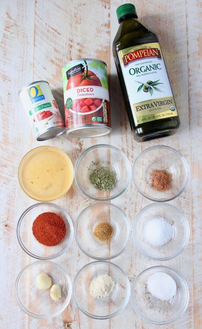 overhead image of red enchilada sauce ingredients