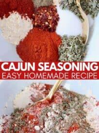 cajun seasoning mix in bowl with gold spoon