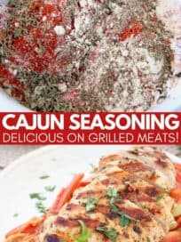 collage of images featuring cajun seasoning mix in bowl and sliced grilled chicken on plate