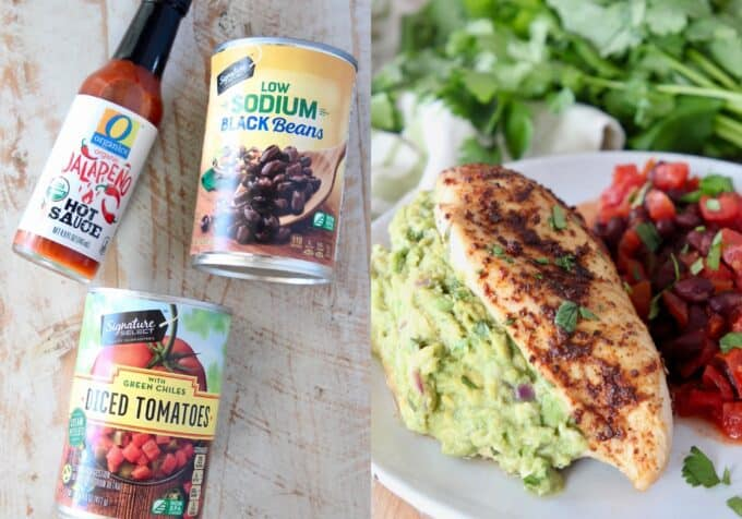 collage of images with ingredients for Southwestern black beans and the beans plated with chicken