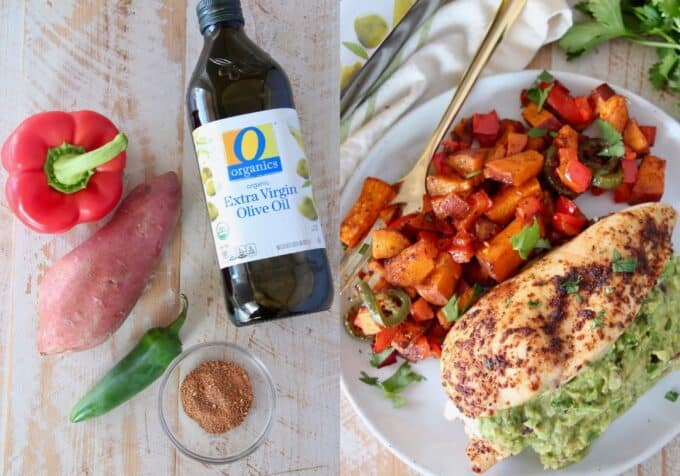 collage of images showing ingredients for roasted vegetables and plated vegetables with chicken