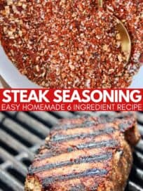 collage of images showing steak on grill and steak seasoning in bowl