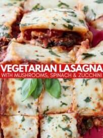 vegetable lasagna in baking dish with spatula