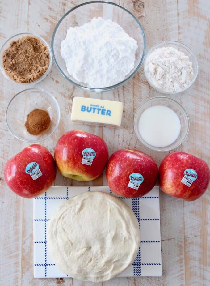 overhead image of ingredients for apple pizza