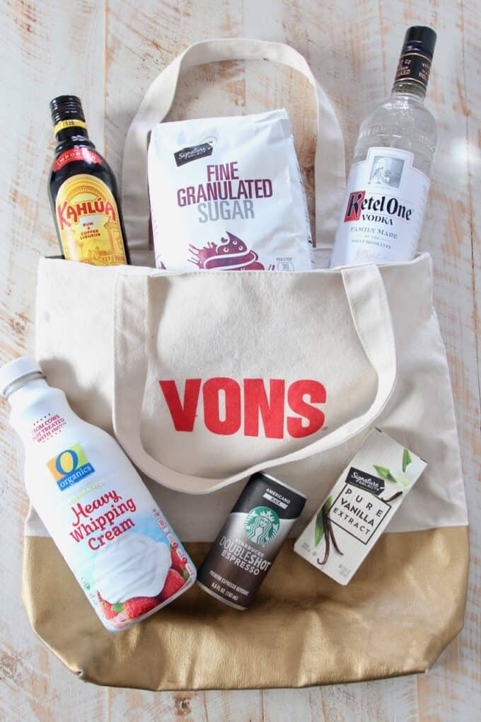 overhead image of espresso martini ingredients sitting on vons shopping bag