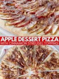 apple dessert pizza sliced on serving board