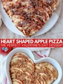 overhead image of heart shaped apple dessert pizza