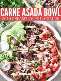 carne asada bowl with chipotle crema drizzle on top