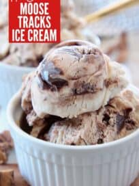 scoops of moose tracks ice cream in small white bowl