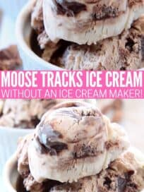 scoops of moose tracks ice cream in small white bowls