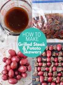 collage of images showing how to make steak and potato skewers