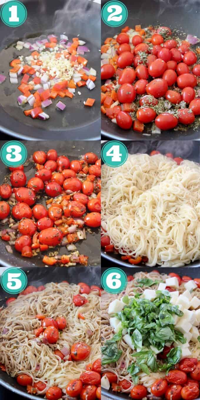 collage of images showing how to make caprese pasta