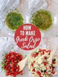 collage of images showing how to make greek orzo salad