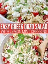 greek orzo salad with tomatoes and feta cheese in bowl with wooden spoon